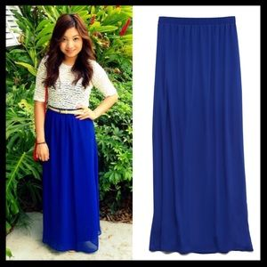 forever 21 // chiffon simple maxi skirt in blue